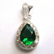 Sterling Silver Cubic Zirconia Pear Cut Emerald Pendant